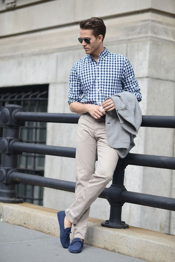 a summer work outfit with a blue checked button down, tan pants, bright blue loafers and a grey blazer