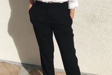 03 a white button down, black cropped pants, white slipper mules that add a bit of edge to the look