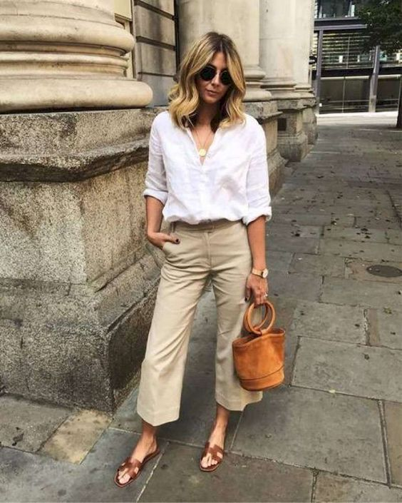 tan cropped pants, a white button down, brown slippers, a brown bucket bag for a dauly outfit