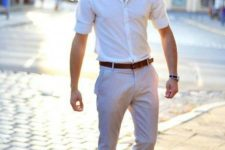 05 a comfy work look with a white button down, grey pants, bold blue loafers for summer