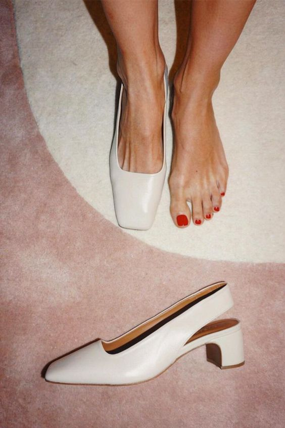 such white leather slingbacks with square toes are a trendy option with a minimal feel, perfect for work