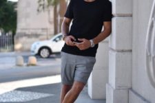 06 a black tee, grey shorts, white sneakers for a relaxed and casual summer outfit