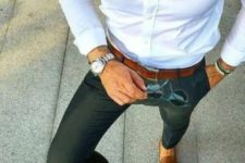 06 a comfy work look with a white button down, dark green pants, brown loafers and a matching belt