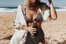 06 a plaid black and white bikini with a high waisted bottom feels retro chic and looks bold