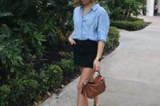 07 a blue shirt, a black mini, brown square toe sandals and a brown leather bag for a casual feel