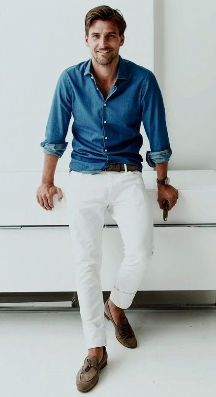 a bright summer or spring outfit with a blue chambray shirt, white pants, brown loafers