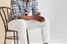 08 a casual summer look with a bright checked shirt, white pants, brown loafers and sunglasses for a hot day