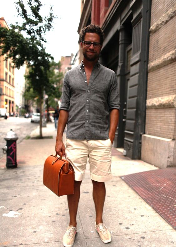 a casual work summer look with a grey linen button down, white shorts, tan sneakers and a bright rust-colored bag for every day