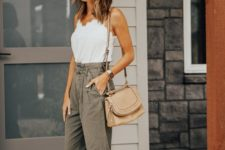 08 a white lace top, olive green cargo pants, a nude bag and white slippers for maximal comfort