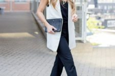 09 a black strap jumpsuit, a white waistcoat, printed shoes and a black clutch are a stylish option