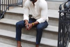 09 a casual summer look with navy chinos, a neutral top, brown loafers with tassels