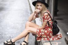 a cool look with a floral dress and sandals