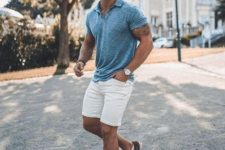 09 a grey tee, white denim shorts, brown sneakers and sunglasses for a chic summer outfit