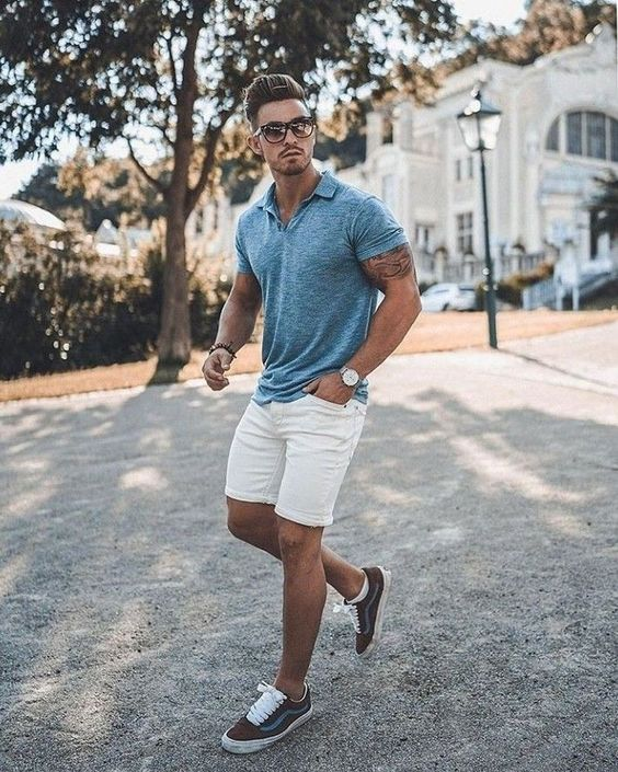 a grey tee, white denim shorts, brown sneakers and sunglasses for a chic summer outfit