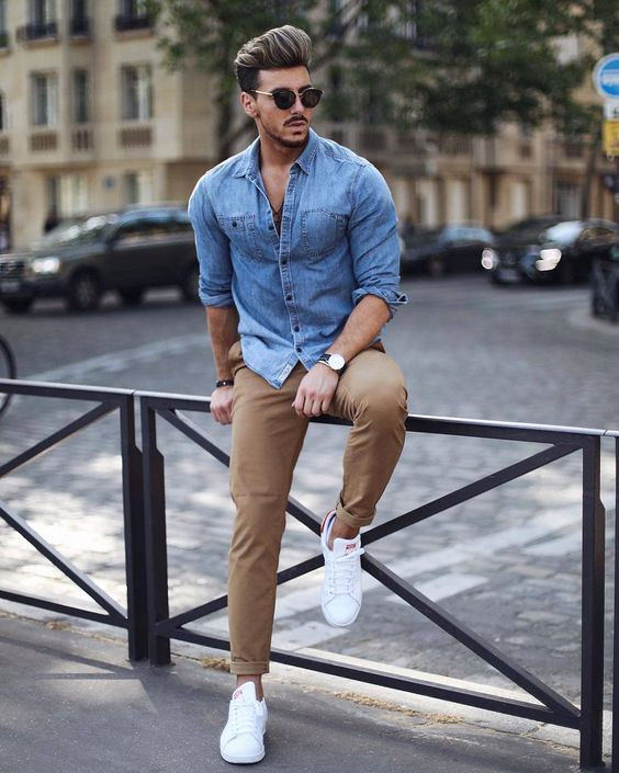 a chambray shirt, camel pants, white sneakers for a cool summer day or evening