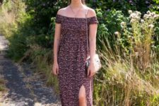 10 a floral off the shoulder maxi dress with a front slit, white dad sandals and a catchy metallic bag