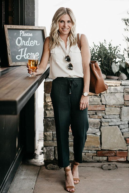 black cropped pants, a white sleeveless button down, brown heels and a matching tote for work