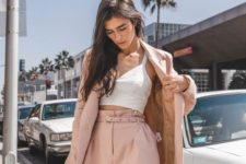 11 a blush suit with shorts, a white crop top – jsut add white sneakers or trainers and you are ready to go