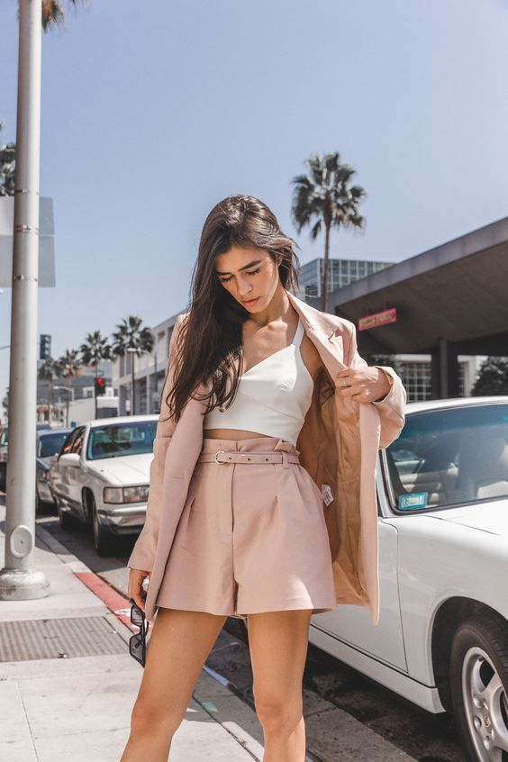 a blush suit with shorts, a white crop top - jsut add white sneakers or trainers and you are ready to go