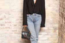 11 a girls' night out summer look with blue cropped jeans, a black button up, metallic square toe shoes and a black bag