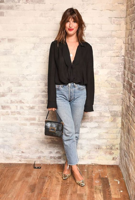 a girls' night out summer look with blue cropped jeans, a black button up, metallic square toe shoes and a black bag