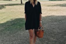12 a black shirtdress, brown slipper mules and a brown leather bucket bag plus a straw hat