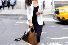 12 a black slip dress, a white blazer, nude heels and a brown bag for a stylish summer work look