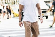 14 a white loose tee, camel loose pants, white sneakers are all you need to feel comfortable