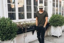 14 black ripped jeans, a graphite grey tee, a straw hat and black sandals for a badass summer look