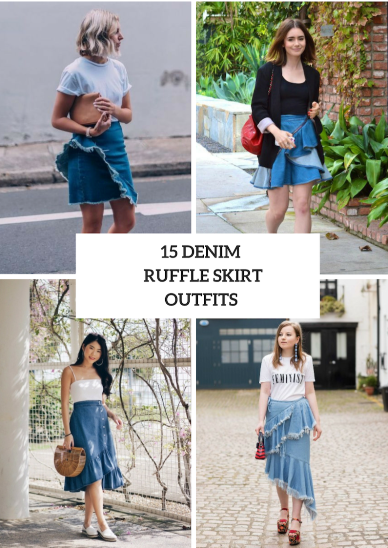 Look Ideas With Denim Ruffle Skirts