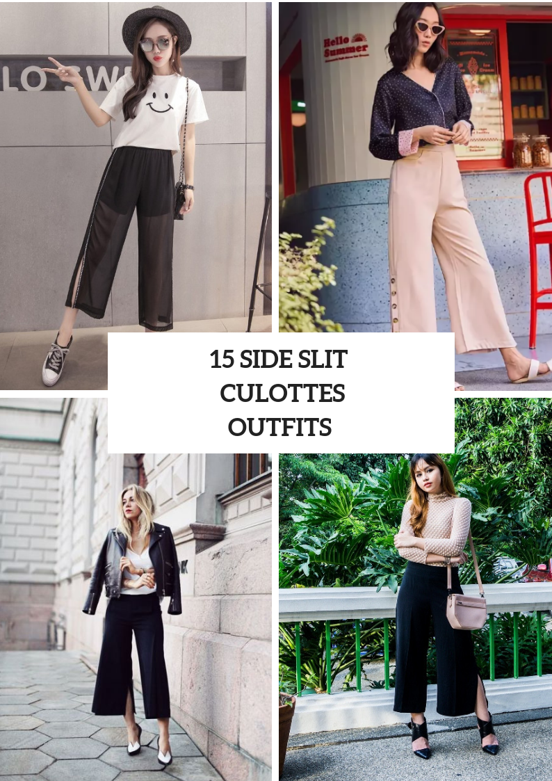 Look Ideas With Side Slit Culottes