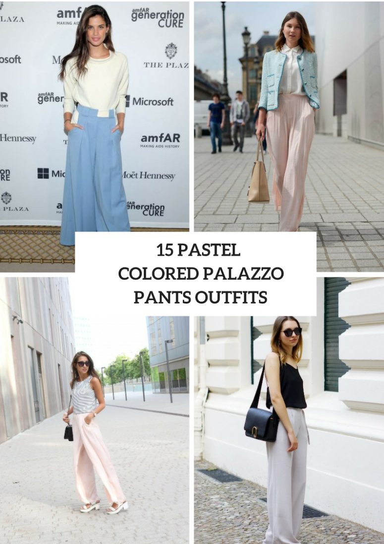 15 Outfits With Pastel Colored Palazzo Pants