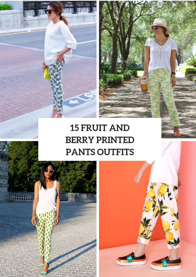 Summer Outfits With Fruit And Berry Printed Pants