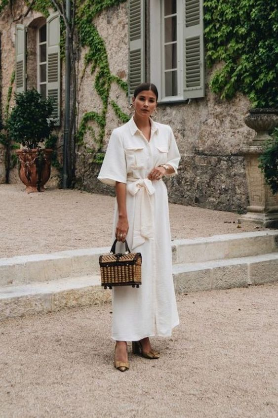 a creamy linen maxi dress with pockets, a straw chest bag and nude bow shoes