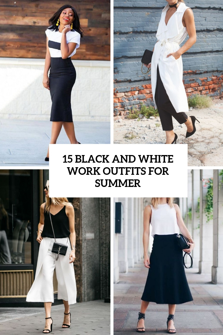 black and white work outfits for summer cover