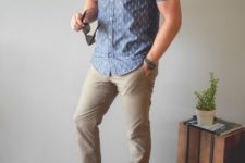 15 tan pants, a blue printed button down with short sleeves, grey sneakers will give you a caual feel
