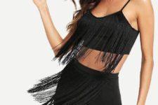 With black fringe mini skirt