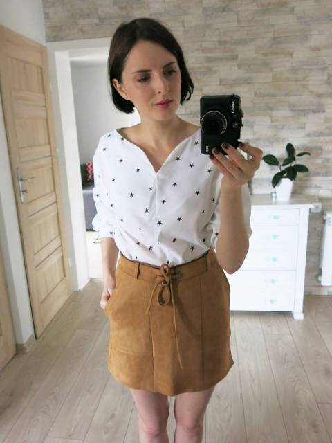 With brown suede mini skirt