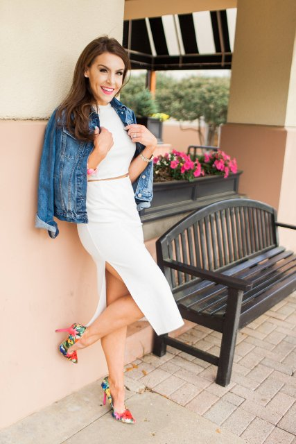 With denim jacket and colorful pumps