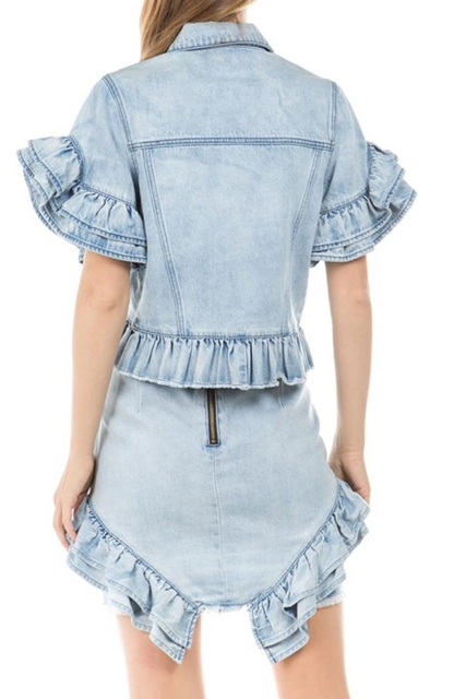 With denim ruffled jacket
