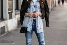 With distressed jeans, mini bag, striped turtleneck, denim shirt and black leather jacket
