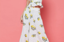 With fruit printed ruffled top and black platform shoes