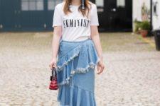 a denim skirt for a flirty summer look