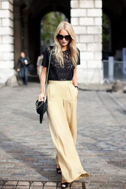 With lace blouse, chain strap bag and black cutout shoes