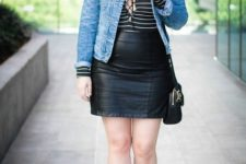 With lace up shirt, denim jacket, black bag and mini skirt