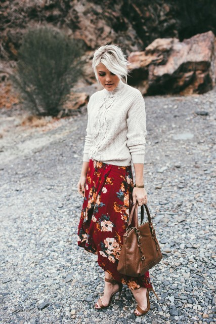 With light gray sweater, brown tote bag and brown high heels