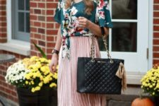 With pleated skirt, black leather bag and ankle strap shoes