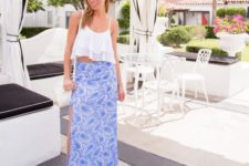 With printed maxi skirt and white bag