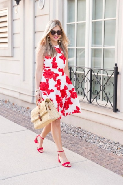 With red ankle strap low heeled shoes and bag