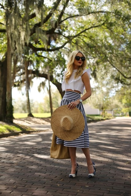 With striped midi skirt, wide brim hat, tote bag and printed shoes
